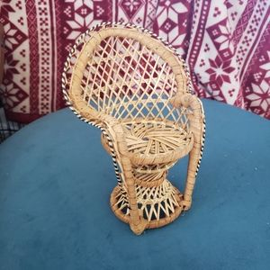 Vintage Wicker Mini Peacock Chair Plant Stand 70s